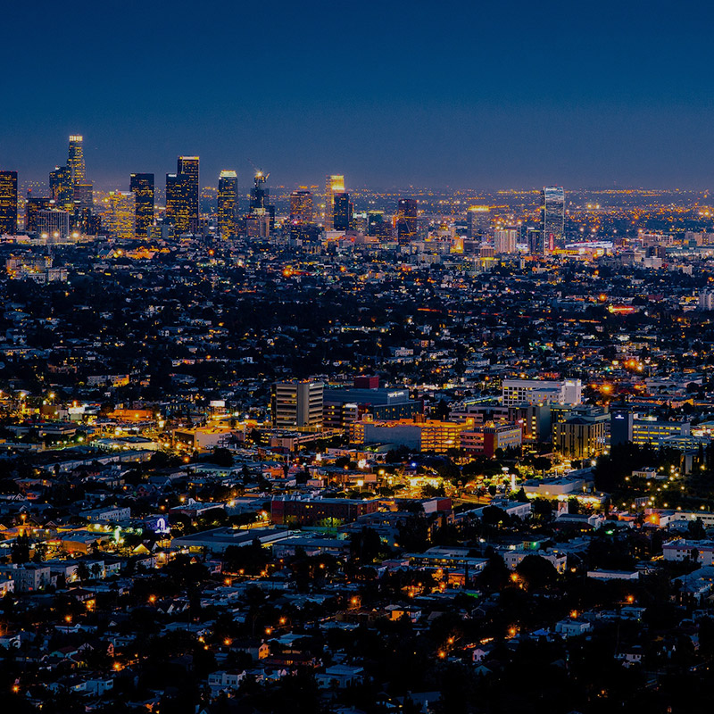 Sightseeing Flight at Night over Los Angeles